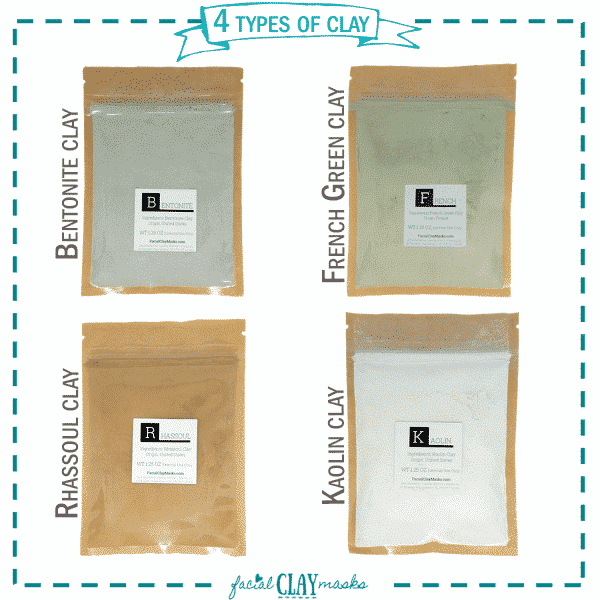 4 Types of Clay | Bentonite | French Green Clay | Rhassoul | Kaolin Clay