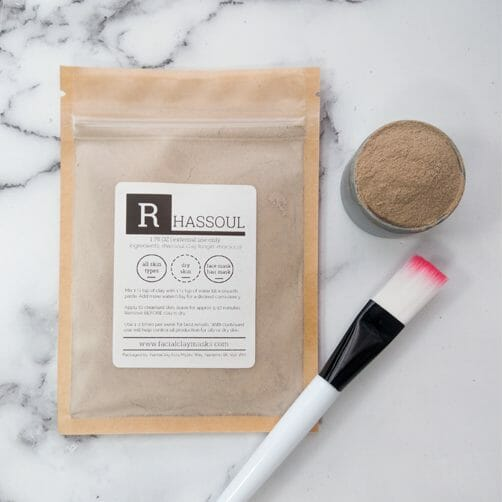 Rhassoul Clay Face Mask Powder with Brush