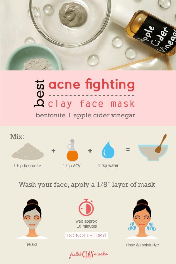 Directions for how to mix and apply Apple Cider Vinegar and Clay Mask