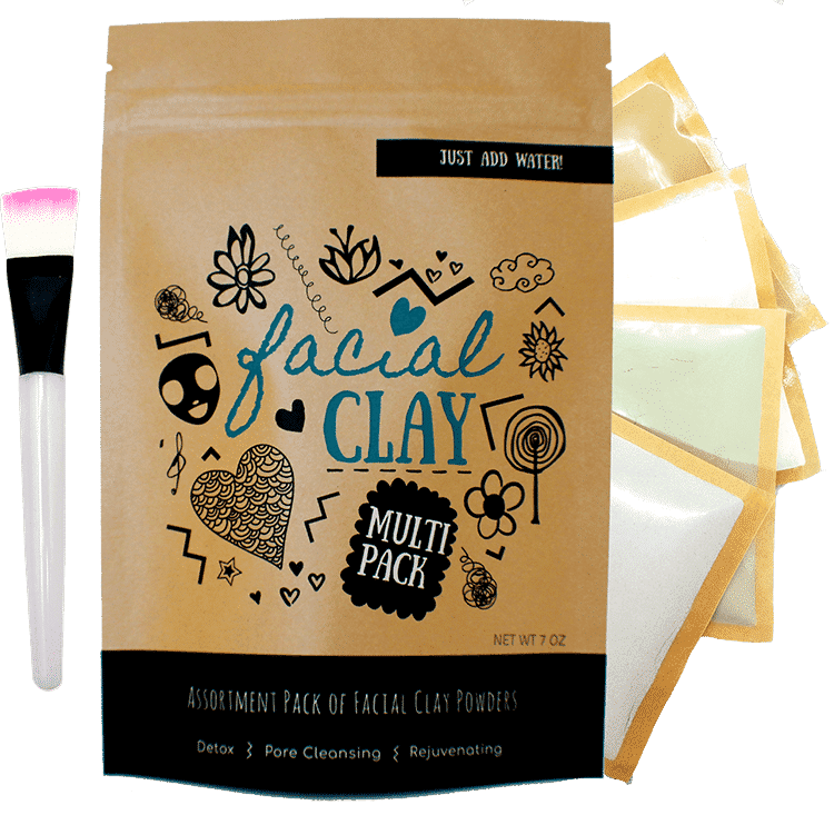 Clay Mask Assortment Pack of 4 Types of Clay Powder
